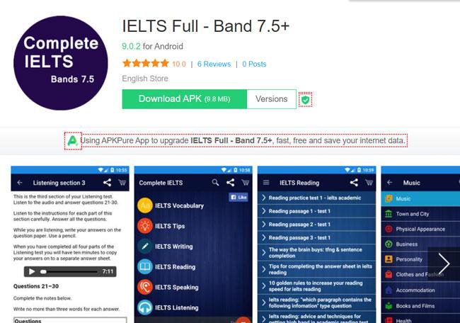 App học IELTS Full - band 7.5