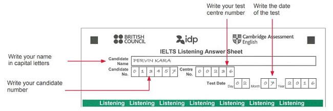 thông tin cá nhân ielts listening answer sheet